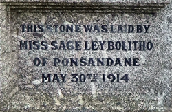 Gulval Village Hall stone laid by Miss Sage Ley Bolitho of Ponsandane May 30th 1914